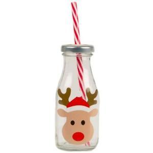 Reindeer Glass Mini Milk Bottle With Straw Christmas Eve Gift Kids Xmas Box