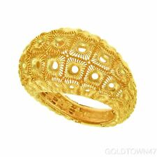 14kt Yellow Gold  Shiny Textured Graduated High Domed Ring