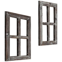 MyGift Set of 2 Torched Wood 4 Pane Window Frame Farmhouse Wall Accent Decor