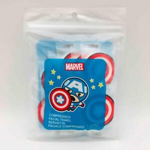 New/Sealed 10-Pack Marvel CAPTAIN AMERICA Shield Compressed Magic Facial Towels