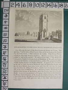 1775 DATED ANTIQUE YORKSHIRE PRINT ~ THE MONASTERY OF THE GREY FRIARS RICHMOND