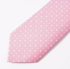 """New E.MARINELLA NAPOLI Pink-White Floral Neat Print Twill Silk Tie 3.5"""""""