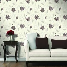SYNERGY WHITE BROWN FLOWER FLORAL TRAIL GLITTER FEATURE VINYL WALLPAPER M0780