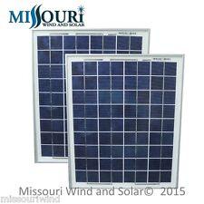 2 - 12 Volt 10 Watt Polycrystalline 36 Cell Solar Panels Photovoltaic 15W Max