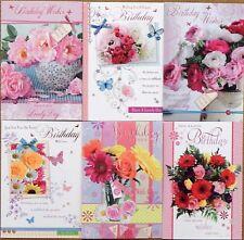 6 PACK OF LADIES FEMALE BIRTHDAY CARDS Ladies Open Birthday Greeting Cards  /H1