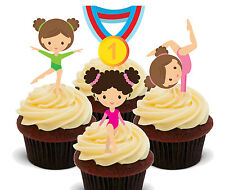 Gymnastics Edible Cupcake Toppers - Standup Fairy Cake Decorations Birthday Girl