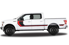 Vinyl Decal Wrap RALLY STRIPE 2 for Ford F-150 15-17 SuperCrew 5.5 Bed BLK + RED