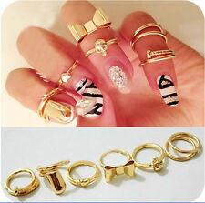7pc Sets New Lovely Skull Bowknot Heart Design Gold Filled Knuckle Finger Rings