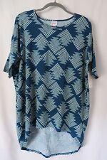 Lularoe Irma Shirt High Low Tunic Blue and Cream Geometric Print Size S  #5459