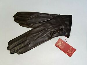 Genuine Dents leather gloves - Silk lined with 4 Button detail - Brown