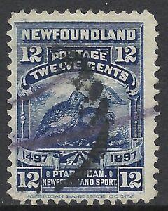 NEWFOUNDLAND SCOTT 69 USED FINE+ - 1897 12c DARK BLUE ISSUE   CAT $15.00