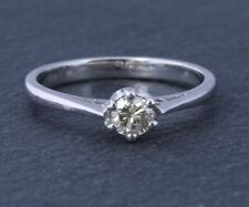 Engagement Round White Gold Natural Fine Diamond Rings