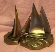 Brass Sailboat Book Ends Figurine Pair 2 pc Set Vintage 6 in high Vintage