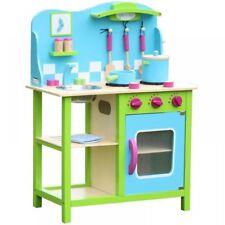 In legno blu verde da cucina Gioco di Ruolo Giocattolo Finta Fornello Forno UTENSILI SET