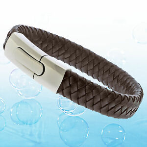 Mens Brown Genuine Flat Leather Braided Wristband Bracelet Toggle Steel Clasp