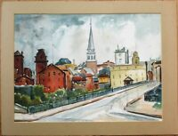 "Village Scene, Church 1950s Mid-Century Watercolor Painting - 14.5"" x 11"""