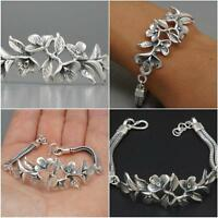 925 STERLING SILVER ARTISAN ORCHID FLOWER WOMENS BRACELET SNAKE CHAIN all sizes!