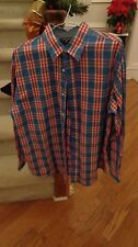 Mens Saddlebred Button Down Shirt Size Large, Red Blue White Plaid PERFECT!