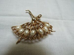 50's Ballerina Pin Faux Pearls Rhinestones Gold Plated