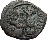 JUSTIN II & QUEEN Sophia Ancient Byzantine Half Follis Coin w CHI-RHO  i70038