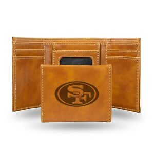 San Francisco 49ers Brown Laser Engraved Synthetic Leather Trifold Wallet NWT