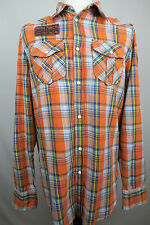 Mens Rolling Paper Plaid Check Casual Long Sleeve Cotton Shirt Adult Size XL
