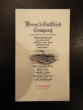Meese Gottfried Company Engineers Manufacturers Vintage Business Card