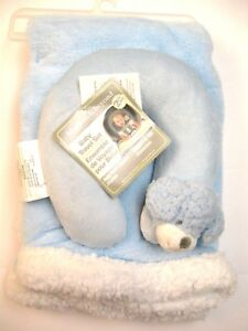 Blankets and Beyond Dog travel pillow Baby Blanket Gift Set Blue & White