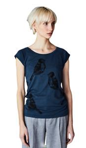 Päälä Damen Bambus Shirt und Baumwolle Vogelprint