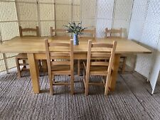 Large Extending Solid Oak Farmhouse Dining Table And 6 Chairs 5x3ft - 8x3ft 240c