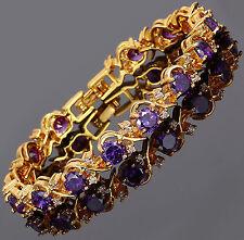 Xmas Rhinestone Round Cut Purple Amethyst Tennis 18K Gold Plated Gift Bracelet