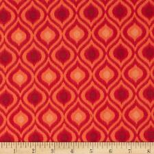 Fabric African Design Damask Orange Duck Cotton Canvas by 1/4 Yard BIN