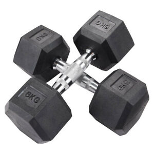 12KG Hex Dumbbells Pairs Rubber Encased Fitness Strength Training Bicep Home Gym