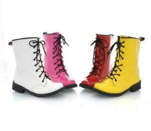 Women's Patent Leather combat military Ankle Boots Lace Up Booties Shoes New