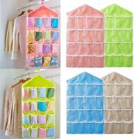 16 Pockets Clear Over Door Hanging Bag Shoe Rack Hanger Storage Organizer Home