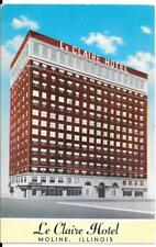Postcard Illinois Moline Le Claire Motel Chrome Unposted Retro Americana