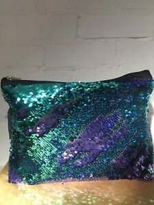 Ladies Superdrug Large Sequin Cosmetic Bag Purple/blue  Changes Colour Zip
