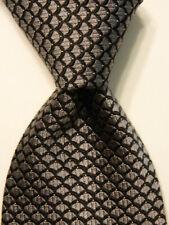 FEDERIGO by BRIONI Men's 100% Silk Necktie ITALY Luxury Geometric Gray/Black EUC