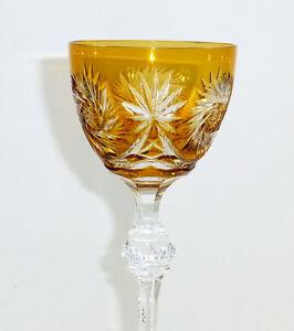 Weinglas Stengelglas Josephinenhütte Römer Überfang bernstein Luftblase 1920