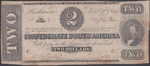 Confederate CSA T54 1862 Two Dollar Note