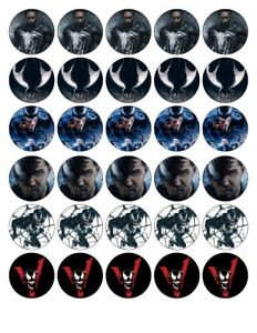 30X 4cm ROUND MIXED VENOM EDIBLE FONDANT/WAFER FAIRY CUP CAKE TOPPERS