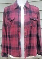 Sonoma flannel shirt long sleeve dark red black Size women's petite medium