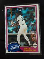 1981 Topps WILLIE RANDOLPH New York Yankees Baseball Card #60