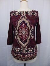 Charter Club Petite Ikat Printed 3/4 Sleeve Tunic Top PS Cranberry Red #3118