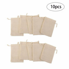 10pcs Jute Hessian Drawstring Gift Bag Pouch Natural Linen Bags 10 x 14cm