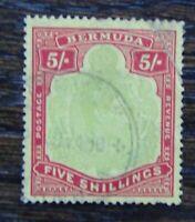 Bermuda 1938 - 53 5s Pale Green & Red on Yellow Damaged NE Corner Used