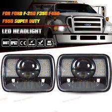 "New 7x6"" Black LED Projector Headlight For Ford F250 F350 F450 F550 Super Duty"