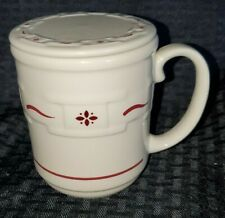 1 Longaberger Woven Traditions Red Coffee Mug Cup W/ Stay Warm Lid/Coaster