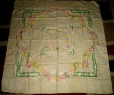 Vtg Embroidered Floral Pink/Green/Yellow Print + Tablecloth Silky Linen!