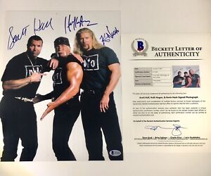 Hulk Hogan Kevin Nash Scott Hall Signed NWO 11x14 Photo Beckett WWE WCW Picture